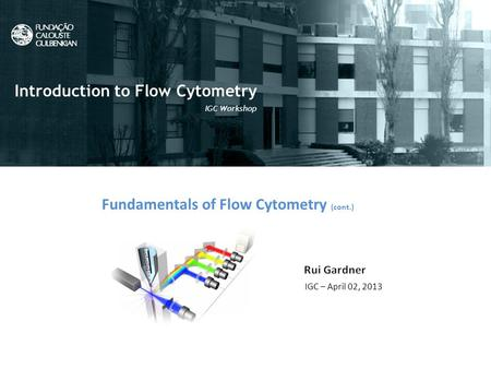 Fundamentals of Flow Cytometry (cont.) IGC – April 02, 2013 Introduction to Flow Cytometry IGC Workshop.