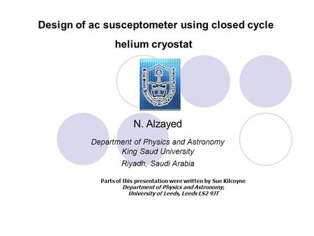 Design of ac susceptometer using closed cycle helium cryostat