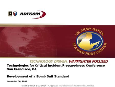 UNCLASSIFIED Technologies for Critical Incident Preparedness Conference San Francisco, CA Development of a Bomb Suit Standard November 06, 2007 DISTRIBUTION.