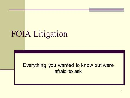 1 FOIA Litigation Everything you wanted to know but were afraid to ask.