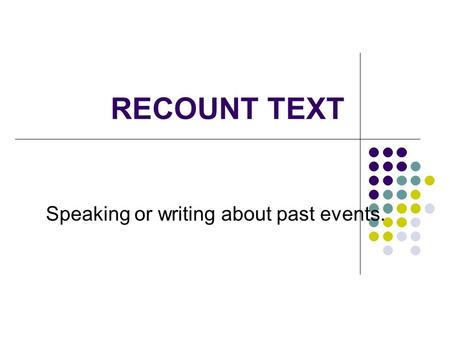 RECOUNT TEXT Speaking or writing about past events.