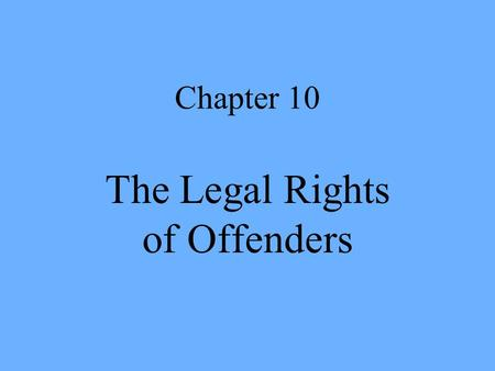 Chapter 10 The Legal Rights of Offenders. Legal Rights of Offenders Inmate access to courts Growth of court intervention in prison administration Constitutional.