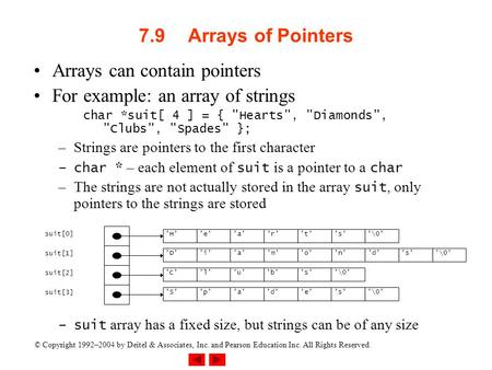 © Copyright 1992–2004 by Deitel & Associates, Inc. and Pearson Education Inc. All Rights Reserved. 7.9Arrays of Pointers Arrays can contain pointers For.