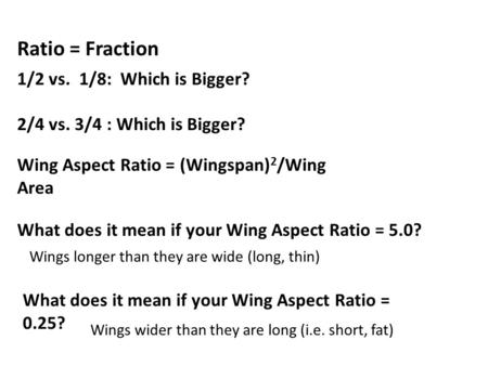 Ratio = Fraction 1/2 vs. 1/8: Which is Bigger? 2/4 vs. 3/4 : Which is Bigger? Wing Aspect Ratio = (Wingspan) 2 /Wing Area What does it mean if your Wing.