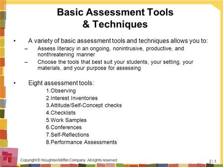 Basic Assessment Tools & Techniques