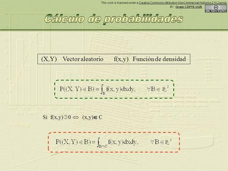 (X,Y) Vector aleatorio f(x,y) Función de densidad Si f(x,y) 0 (x,y) C 2 2 BY: Grupo CDPYE-UGR This work is licensed under a Creative Commons Attribution-NonCommercial-NoDerivs.