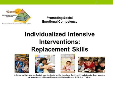 Promoting Social Emotional Competence Individualized Intensive Interventions: Replacement Skills 1.