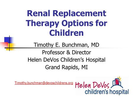 Renal Replacement Therapy Options for Children