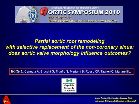 Luca Botta MD, Cardiac Surgery Unit Niguarda Cà Granda Hospital, Milan, Italy Partial aortic root remodeling with selective replacement of the non-coronary.