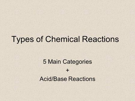 Types of Chemical Reactions 5 Main Categories + Acid/Base Reactions.