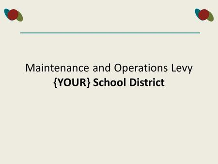 Maintenance and Operations Levy {YOUR} School District.