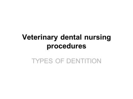 TYPES OF DENTITION Veterinary dental nursing procedures TYPES OF DENTITION.