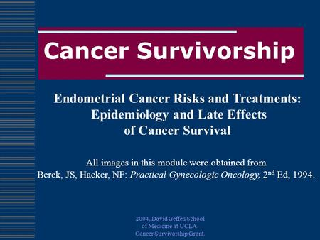 2004, David Geffen School of Medicine at UCLA. Cancer Survivorship Grant. Cancer Survivorship Endometrial Cancer Risks and Treatments: Epidemiology and.