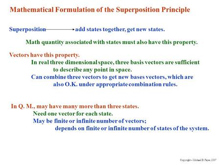 Mathematical Formulation of the Superposition Principle