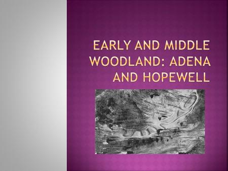 The Early Woodland period is an elaboration of Archaic trends. A greatly increased use of earthen burial mounds and pottery making make Early Woodland.