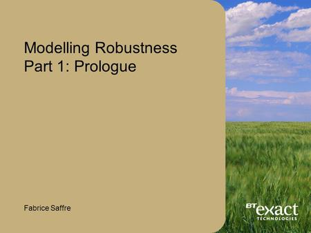 Modelling Robustness Part 1: Prologue Fabrice Saffre.