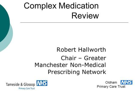 Complex Medication Review Robert Hallworth Chair – Greater Manchester Non-Medical Prescribing Network Oldham Primary Care Trust.