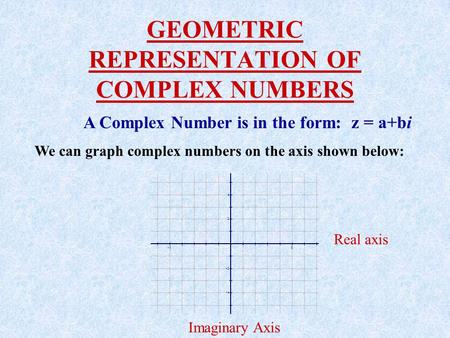 GEOMETRIC REPRESENTATION OF COMPLEX NUMBERS A Complex Number is in the form: z = a+bi We can graph complex numbers on the axis shown below: Real axis.