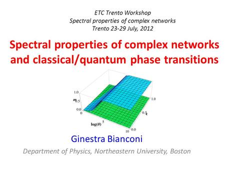 ETC Trento Workshop Spectral properties of complex networks