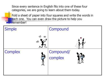 SimpleCompound ComplexCompound/ complex Since every sentence in English fits into one of these four categories, we are going to learn about them today.