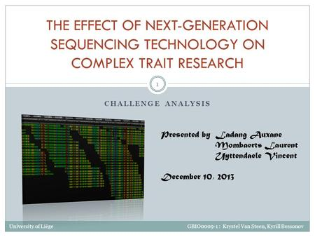 CHALLENGE ANALYSIS THE EFFECT OF NEXT-GENERATION SEQUENCING TECHNOLOGY ON COMPLEX TRAIT RESEARCH Ladang Auxane Mombaerts Laurent Uyttendaele Vincent Presented.