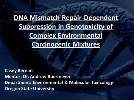 DNA Mismatch Repair-Dependent Suppression in Genotoxicity of Complex Environmental Carcinogenic Mixtures Casey Kernan Mentor: Dr. Andrew Buermeyer Department: