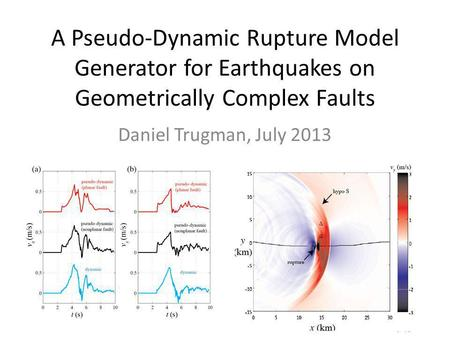 A Pseudo-Dynamic Rupture Model Generator for Earthquakes on Geometrically Complex Faults Daniel Trugman, July 2013.