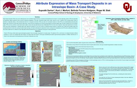 Attribute Expression of Mass Transport Deposits in an Intraslope Basin- A Case Study. Supratik Sarkar*, Kurt J. Marfurt, Belinda Ferrero Hodgson, Roger.