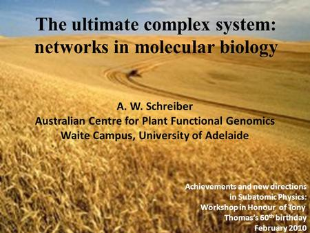 The ultimate complex system: networks in molecular biology A. W. Schreiber Australian Centre for Plant Functional Genomics Waite Campus, University of.