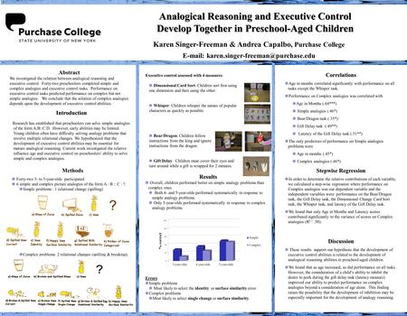 Analogical Reasoning and Executive Control Develop Together in Preschool-Aged Children Analogical Reasoning and Executive Control Develop Together in Preschool-Aged.