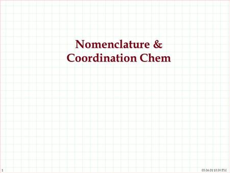 Nomenclature & Coordination Chem