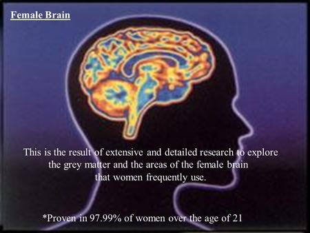 Female Brain This is the result of extensive and detailed research to explore the grey matter and the areas of the female brain that women frequently.