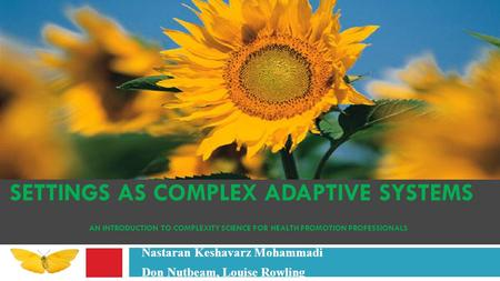 SETTINGS AS COMPLEX ADAPTIVE SYSTEMS AN INTRODUCTION TO COMPLEXITY SCIENCE FOR HEALTH PROMOTION PROFESSIONALS Nastaran Keshavarz Mohammadi Don Nutbeam,