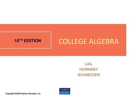1.4 - 1 10 TH EDITION LIAL HORNSBY SCHNEIDER COLLEGE ALGEBRA.