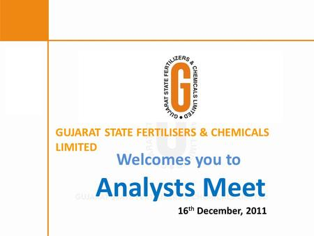 Welcomes you to Analysts Meet