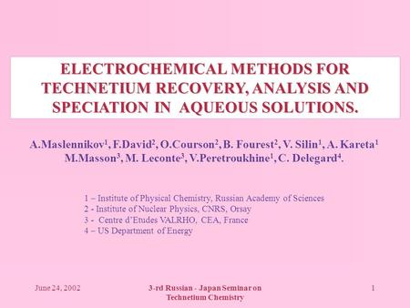 June 24, 20023-rd Russian - Japan Seminar on Technetium Chemistry 1 ELECTROCHEMICAL METHODS FOR TECHNETIUM RECOVERY, ANALYSIS AND SPECIATION IN AQUEOUS.