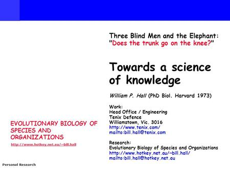 EVOLUTIONARY BIOLOGY OF SPECIES AND ORGANIZATIONS  Personal Research Three Blind Men and the Elephant: Does the trunk.
