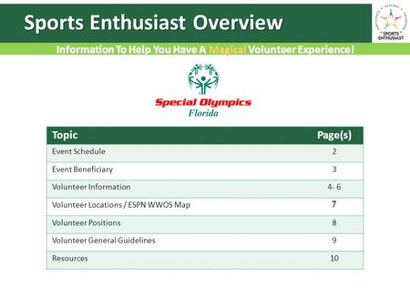 Information To Help You Have A Magical Volunteer Experience! Sports Enthusiast Overview TopicPage(s) Event Schedule2 Event Beneficiary3 Volunteer Information4-