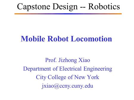Mobile Robot Locomotion