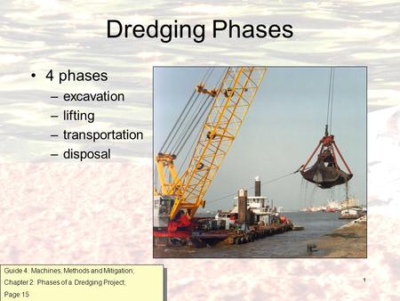 1 Dredging Phases 4 phases –excavation –lifting –transportation –disposal Guide 4: Machines, Methods and Mitigation; Chapter 2: Phases of a Dredging Project;