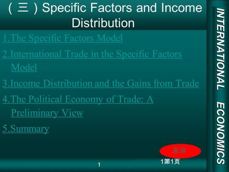 INTERNATIONAL ECONOMICS 03/01/20 COPY RIGHT 1 Specific Factors and Income Distribution 1.The Specific Factors Model 2.International Trade in the Specific.