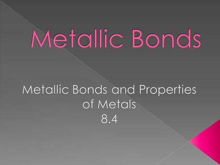 Metallic Bonds and Properties of Metals 8.4