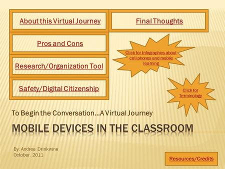 To Begin the Conversation…A Virtual Journey Click for Infographics about cell phones and mobile learning About this Virtual JourneyPros and Cons Resources/Credits.