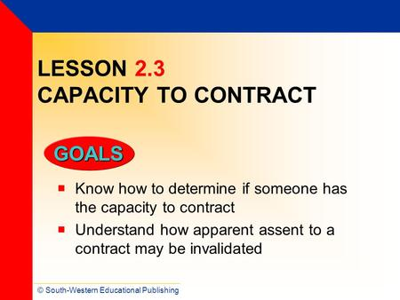 LESSON 2.3 CAPACITY TO CONTRACT