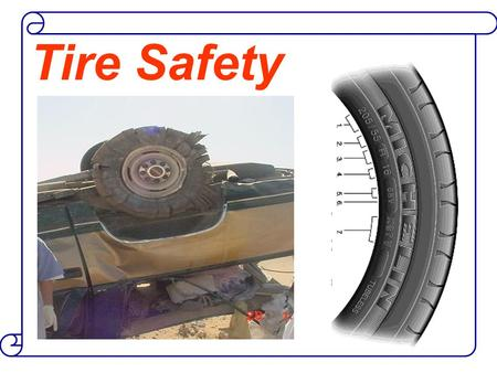 Tire Safety. Studies of tire safety show that maintaining proper tire pressure, observing tire and vehicle load limits,and inspecting tires for cuts,