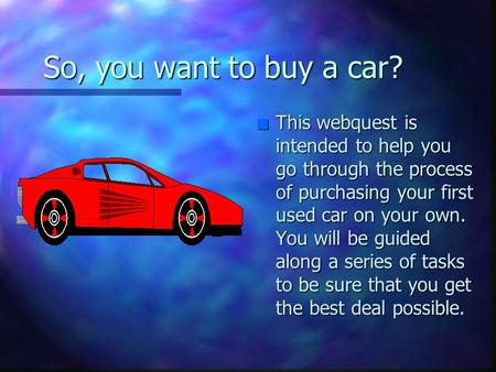 Buying A Car Webquest