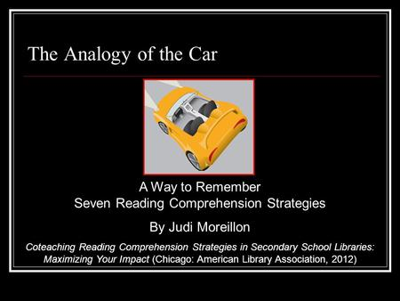 The Analogy of the Car A Way to Remember Seven Reading Comprehension Strategies By Judi Moreillon Coteaching Reading Comprehension Strategies in Secondary.