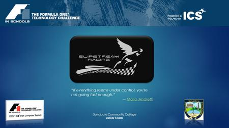 If everything seems under control, you're not going fast enough. Mario AndrettiMario Andretti Donabate Community College Junior Team.