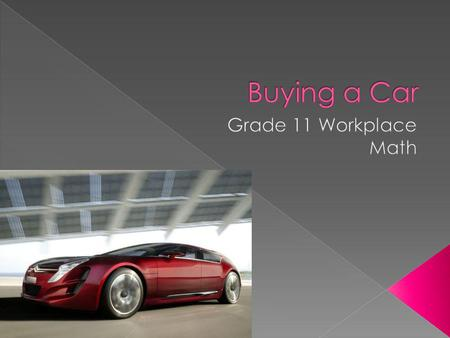 Taxes on cars Buying a used car (Private & Dealer Buying a new car Financing.