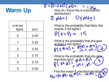 Warm Up How do I know this is a probability distribution?